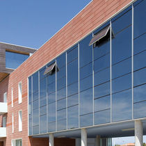 Spandrel curtain wall / metal and glass / transparent / acoustic