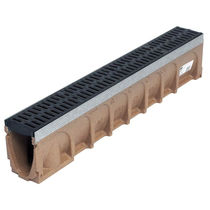 Public space drainage channel / polymer concrete / with grating