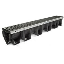 Public space drainage channel / polypropylene / with grating / slot