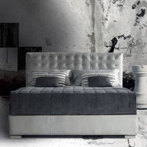 Double bed / Art Deco / fabric / upholstered
