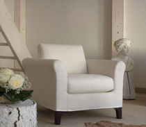 Fabric armchair / with washable removable cover / traditional
