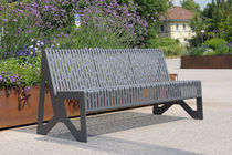 Public bench / contemporary / stainless steel / with backrest