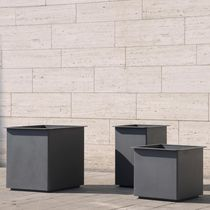 Stainless steel planter / square / rectangular / contemporary