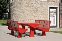 Contemporary bench and table set / steel / outdoor / for public spaces