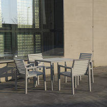 Contemporary chair / with armrests / aluminum / stainless steel