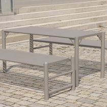 Contemporary table / stainless steel / rectangular / commercial