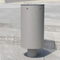 Public trash can / stainless steel / with built-in ashtray / contemporary
