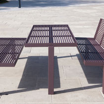 Contemporary picnic table / stainless steel / rectangular / for public areas