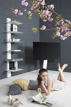Wall-mounted shelf / contemporary / in wood / glass