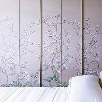 Oriental wallpaper / silk / floral / handmade