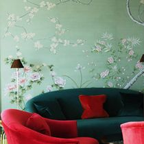 Traditional wallpaper / silk / floral / chinoiserie