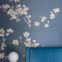 Oriental wallpaper / silk / floral / hand-painted