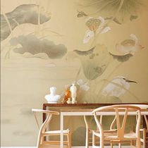 Traditional wallpaper / silk / nature pattern / animal motif