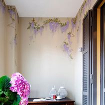 Traditional wallpaper / silk / chinoiserie / handmade