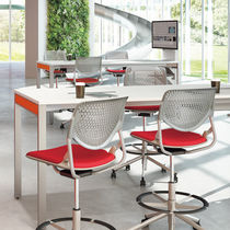 Fabric office stool / metal / on casters / swivel