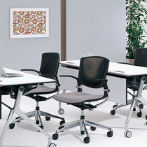 Contemporary office chair / with armrests / upholstered / stackable