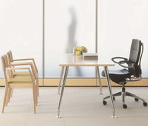 Contemporary work table / MDF / wood veneer / laminate