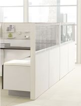 Floor-mounted office divider / countertop / glass / wooden