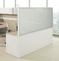 Floor-mounted office divider / countertop / glass / laminate