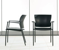 Contemporary visitor chair / with armrests / ebony