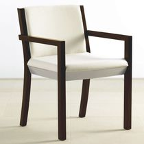 Contemporary visitor chair / with armrests / upholstered / maple
