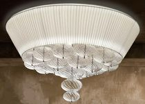 Contemporary ceiling light / round / glass / fabric