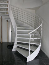Circular staircase / metal steps / lateral stringer / without risers