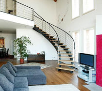 Circular staircase / metal frame / wooden steps / lateral stringer