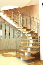 Circular staircase / metal frame / wooden steps / central stringer