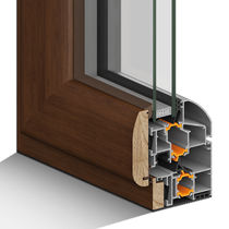 Casement window / wooden / aluminum / double-glazed