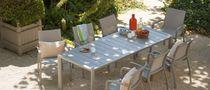 Contemporary dining table / lacquered aluminum / rectangular / garden