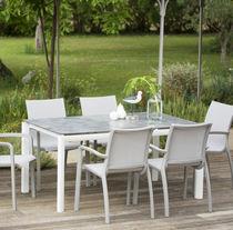 Contemporary dining table / painted aluminum / HPL / rectangular