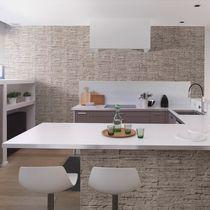 Wall-mounted paneling / PVC / stone / 3D