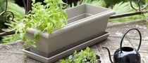 Resin planter / plastic / rectangular / contemporary