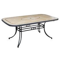 Contemporary dining table / wrought iron / resin / rectangular