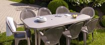 Contemporary dining table / plastic / rectangular / garden