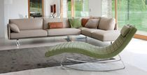 Contemporary chaise longue / leather