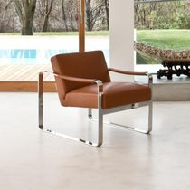 Contemporary armchair / fabric / leather / stainless steel