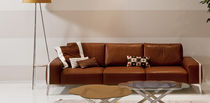 Contemporary sofa / leather / 3-seater / brown