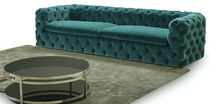 Chesterfield sofa / fabric / 3-seater / blue