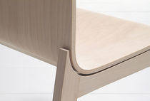 Contemporary chair / fabric / wooden / leather
