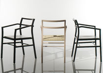 Contemporary chair / with armrests / sled base / solid wood