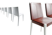Contemporary chair / solid wood / leather / contract