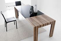 Contemporary table / glass / oak / walnut