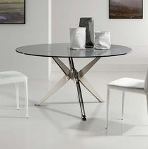 Contemporary table / glass / steel / lacquered wood