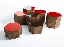 Contemporary coffee table / oak / walnut / hexagonal