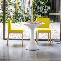 Contemporary restaurant chair / upholstered / solid wood