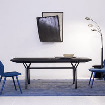 Contemporary table / steel / oak / solid wood