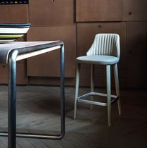 Contemporary bar chair / upholstered / wooden / leather