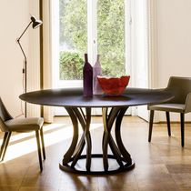 Contemporary table / glass / oak / round